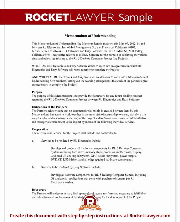 Memorandum Of Understanding Sample Unique Memorandum Of Understanding form Mou Template with