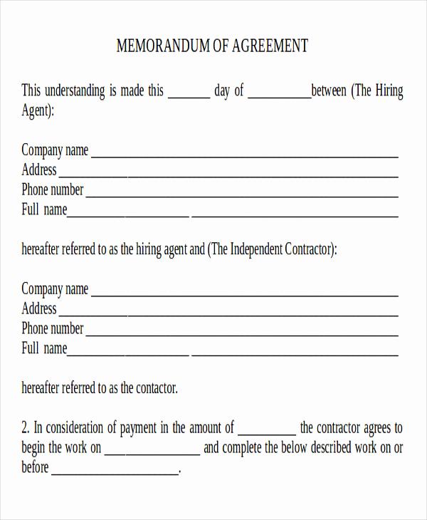 Memorandums Of Understanding Examples Elegant 10 Memorandum Of Agreement Samples Examples Templates