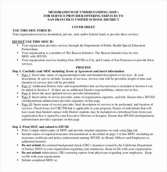 Memorandums Of Understanding Examples Fresh 41 Memorandum Of Understanding Templates Pdf Google