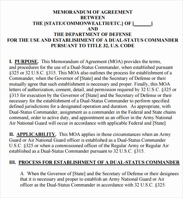 Memorandums Of Understanding Examples Fresh Memorandum Of Agreement 15 Free Pdf Doc Download