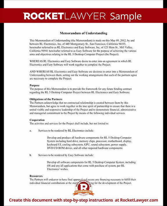Memorandums Of Understanding Examples Inspirational Memorandum Of Understanding form Mou Template with Sample