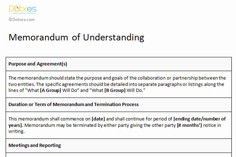 Memorandums Of Understanding Examples Inspirational Memorandum Of Understanding Sample Template Dotxes