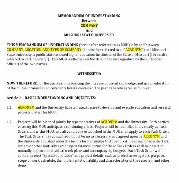 Memorandums Of Understanding Examples Lovely 41 Memorandum Of Understanding Templates Pdf Google