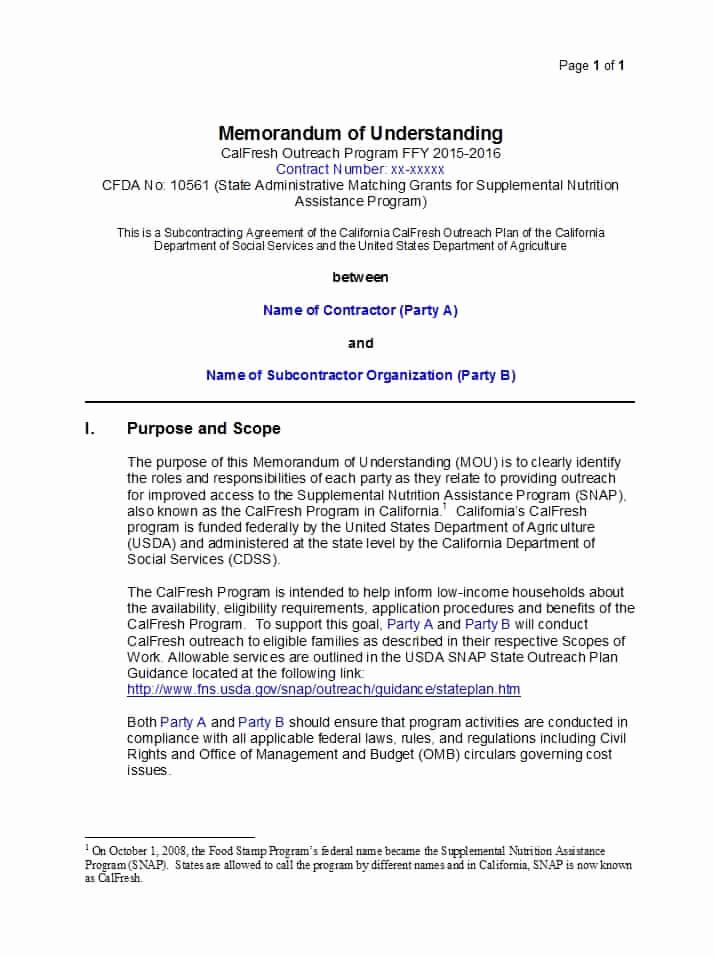 Memorandums Of Understanding Examples Unique 50 Free Memorandum Of Understanding Templates [word]