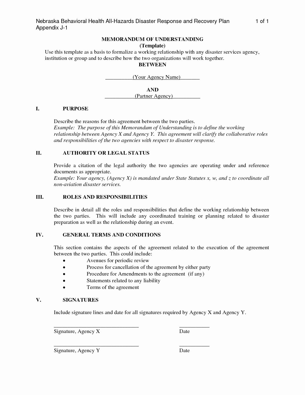 Memorandums Of Understanding Examples Unique New Memorandum Understanding Template Joint Venture
