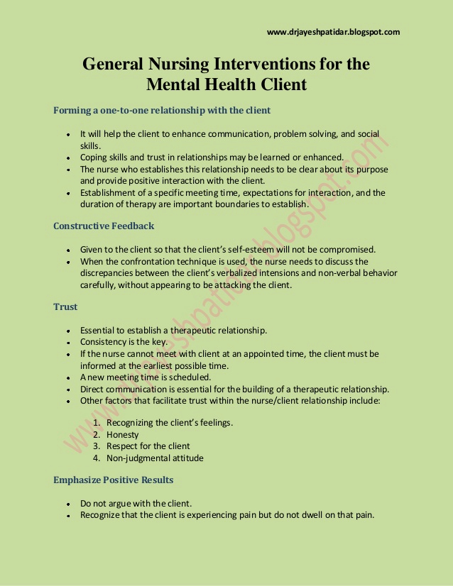 Mental Health Nursing Diagnosis Unique General Nursing Interventions for the Mental Health Client