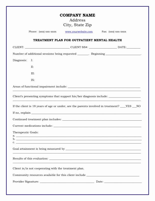 Mental Health Treatment Plan Template Unique Mental Health Treatment Plan Template Download