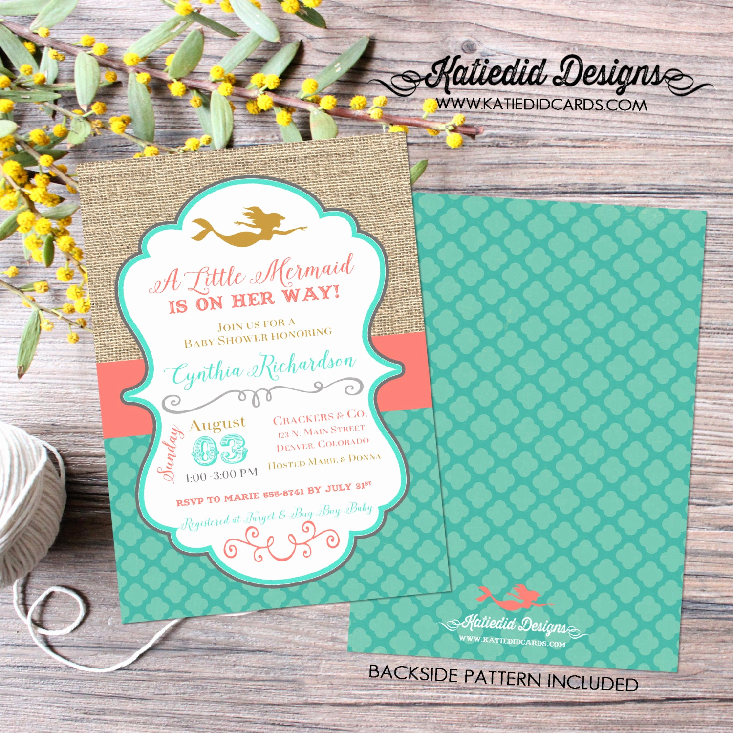 mermaid baby shower invitation bridal