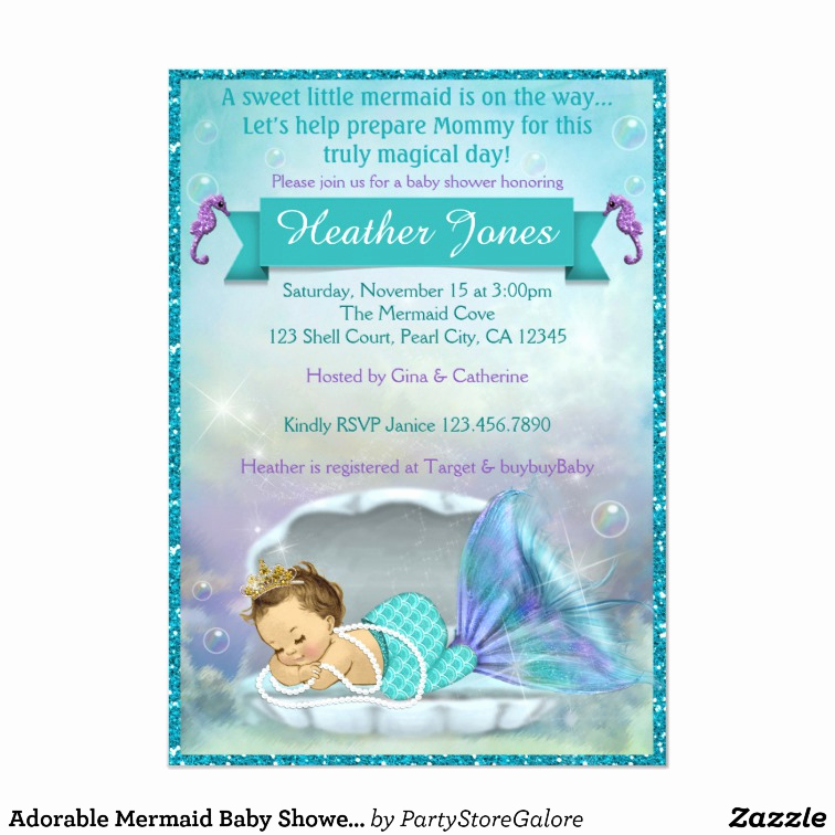 Mermaid Baby Shower Invitations Beautiful Adorable Mermaid Baby Shower Invitations 130