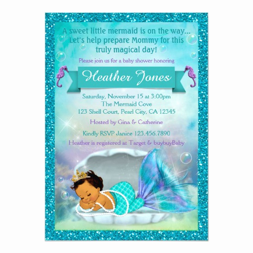 Mermaid Baby Shower Invitations Beautiful Adorable Mermaid Baby Shower Invitations 136 Med