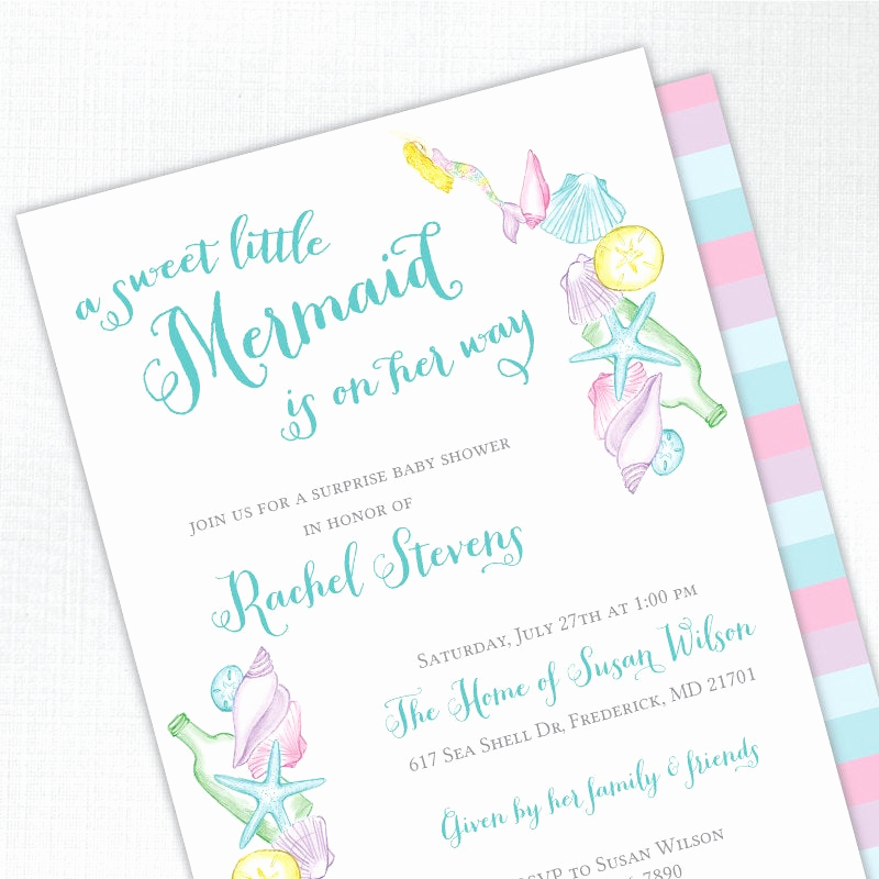 Mermaid Baby Shower Invitations Beautiful Mermaid Baby Shower Invitation Girl Baby Shower Invites