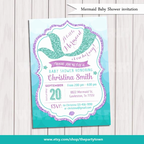 Mermaid Baby Shower Invitations Beautiful Mermaid Baby Shower Invitation Little Mermaid Baby Shower