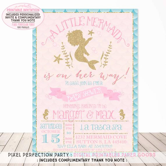 Mermaid Baby Shower Invitations Best Of Mermaid Baby Shower Invitation Aqua Pink Gold Sparkle Baby