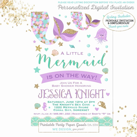 Mermaid Baby Shower Invitations Best Of Mermaid Baby Shower Invitation Little Mermaid Baby Shower
