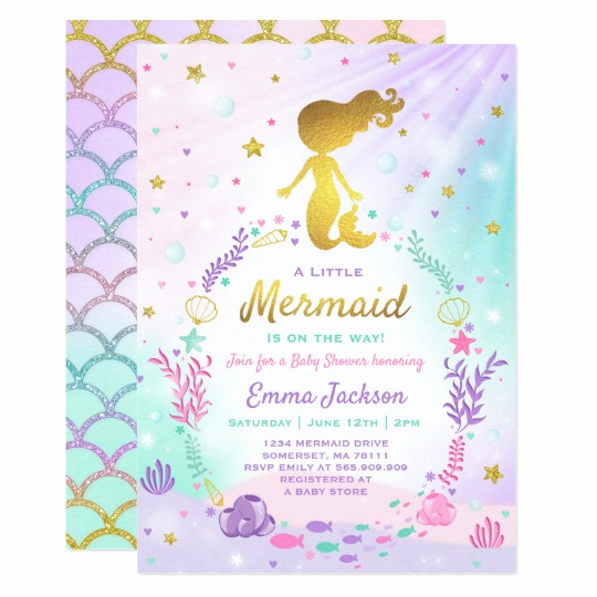 Mermaid Baby Shower Invitations Elegant Mermaid Baby Shower Invitation Little Mermaid Baby