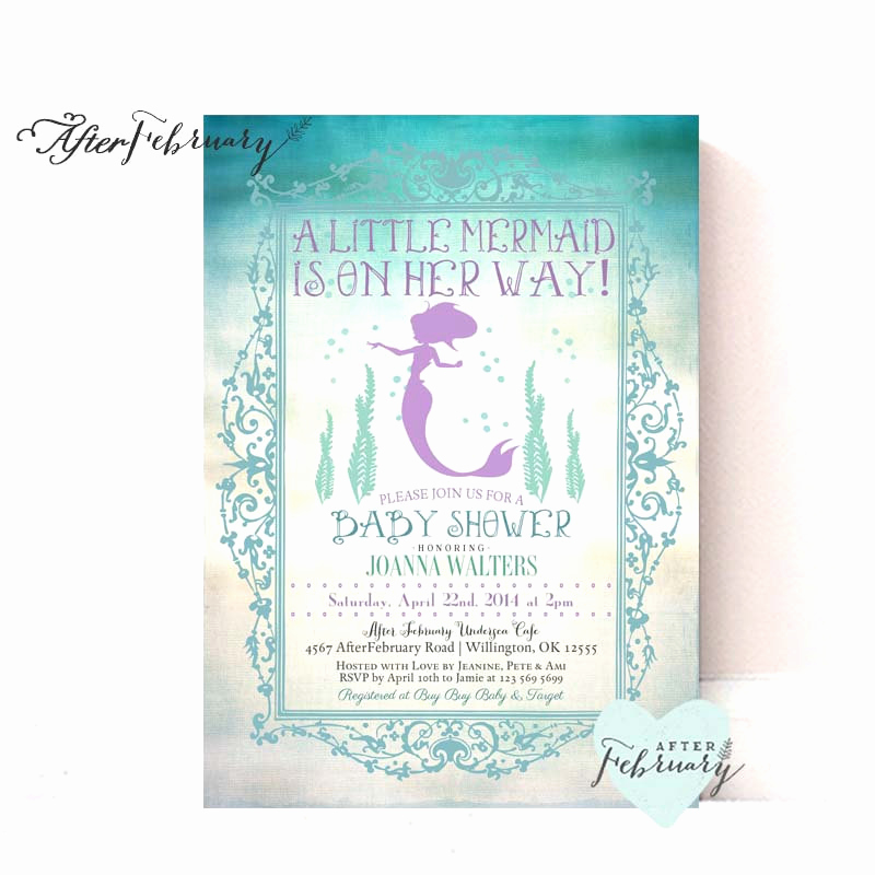 Mermaid Baby Shower Invitations Elegant Mermaid Baby Shower Invitation Little Mermaid by
