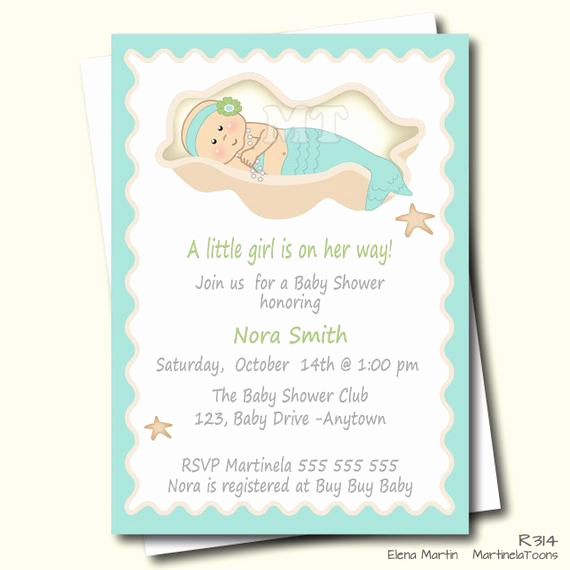 Mermaid Baby Shower Invitations Fresh Diy Mermaid Baby Shower Invitation Aqua Blue by Martinelatoons