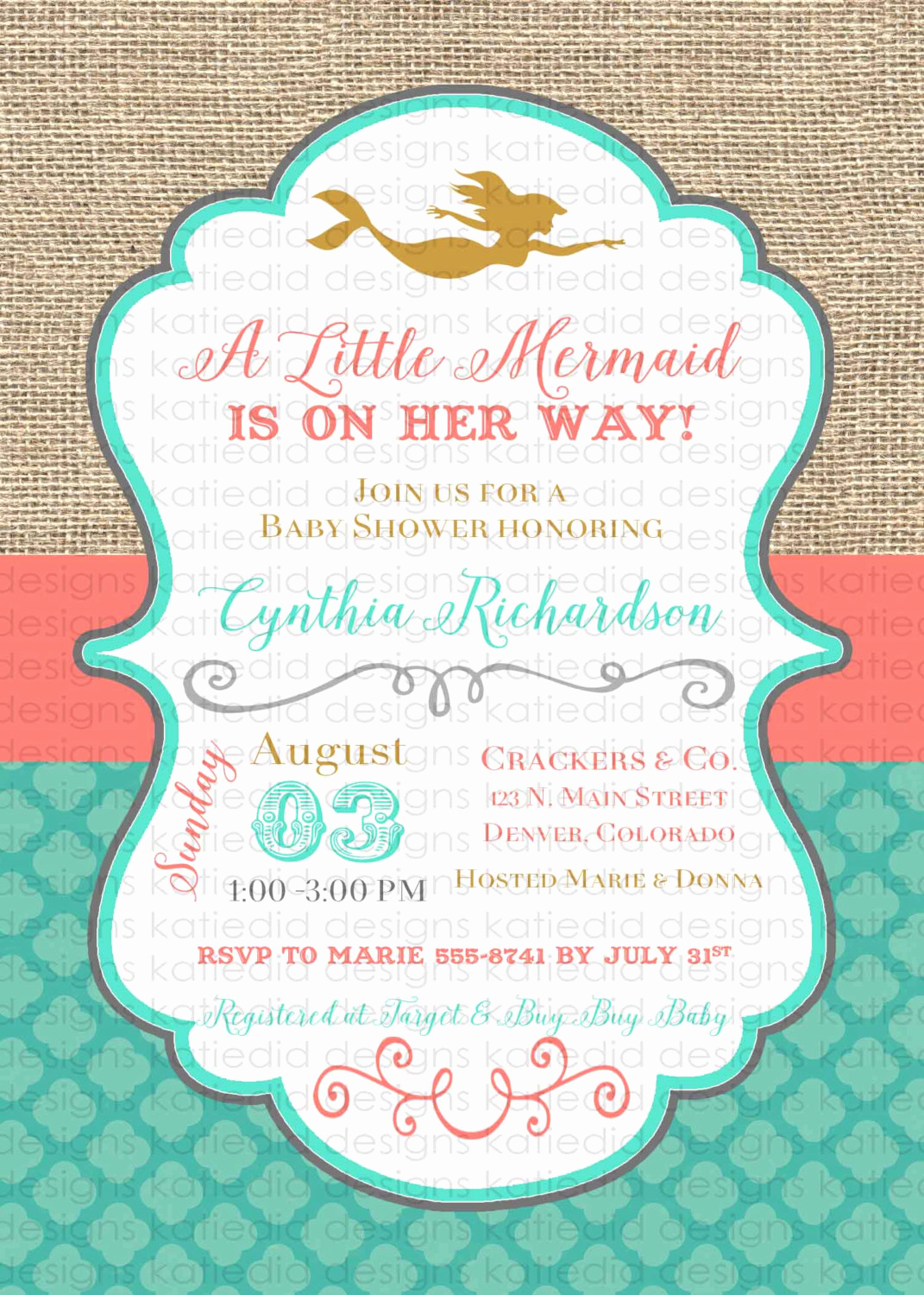 Mermaid Baby Shower Invitations Fresh Mermaid Baby Shower Invitation Bridal Shower 1365 Wedding Hen