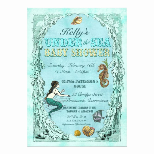 "Mermaid Baby Shower Invitations Inspirational Under the Sea Mermaid Baby Shower Invitation 5"" X 7"
