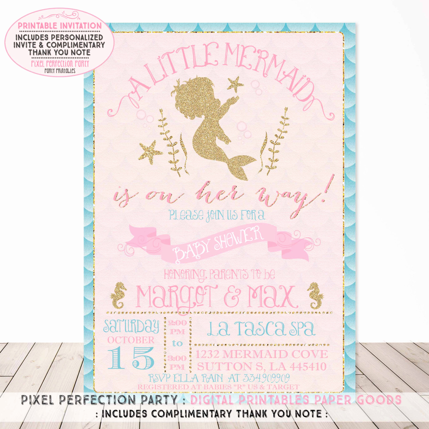Mermaid Baby Shower Invitations Lovely Mermaid Baby Shower Invitation Aqua Pink Gold Sparkle Baby