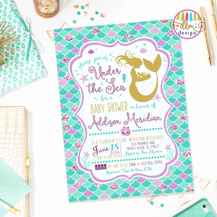 Mermaid Baby Shower Invitations Lovely Under the Sea Baby Shower Ideas Baby Ideas