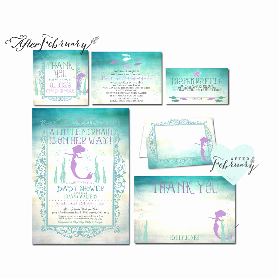 Mermaid Baby Shower Invitations Luxury 6 Piece Suite Mermaid Baby Shower Invitation by afterfebruary