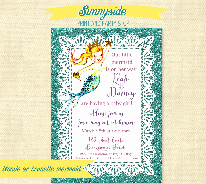 Mermaid Baby Shower Invitations Luxury Mermaid Baby Shower Invitation Printable Mermaid Baby Shower