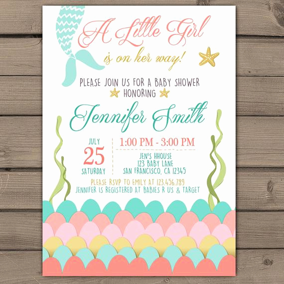 Mermaid Baby Shower Invitations Luxury Mermaid Baby Shower Invitation Under the Sea Baby Shower