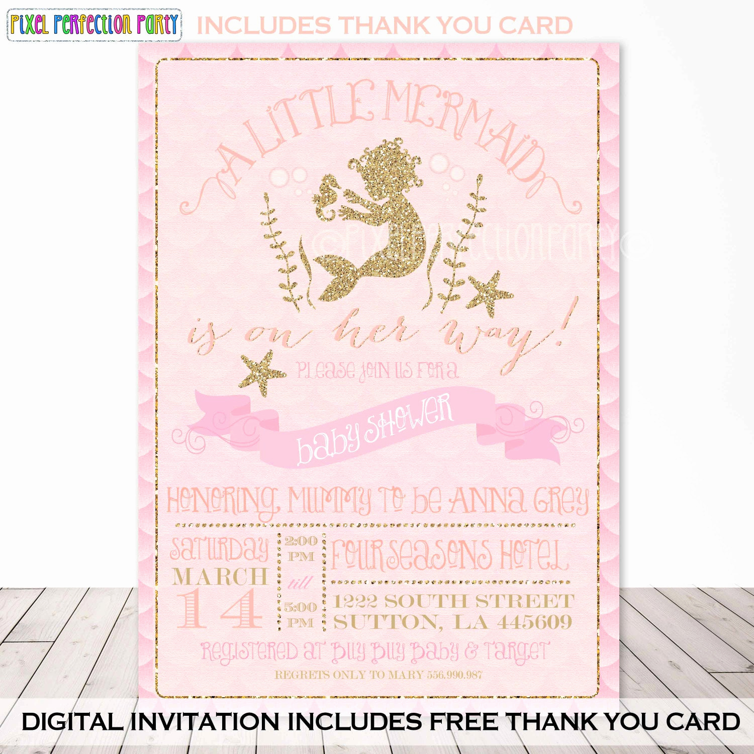Mermaid Baby Shower Invitations New Mermaid Baby Shower Invitation Mermaid by Pixelperfectionparty