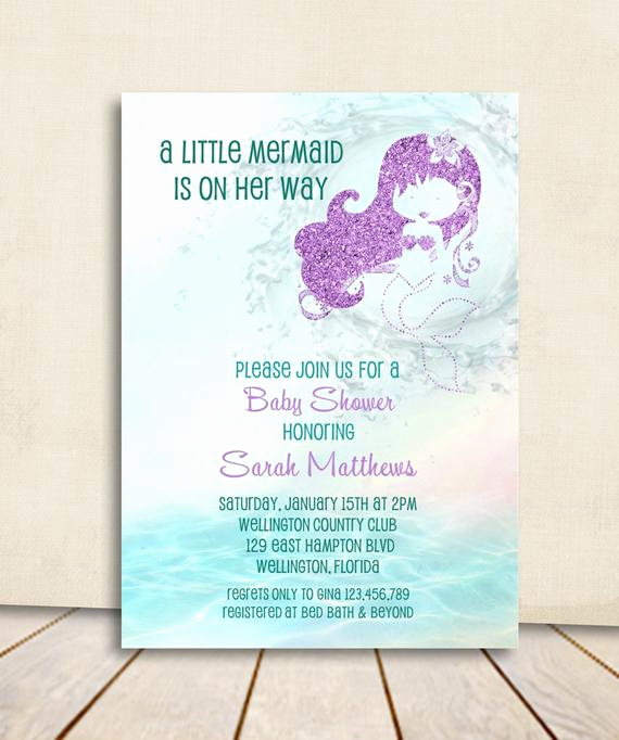 Mermaid Baby Shower Invitations New Mermaid Baby Shower Invitation Turquoise and Purple Glitter