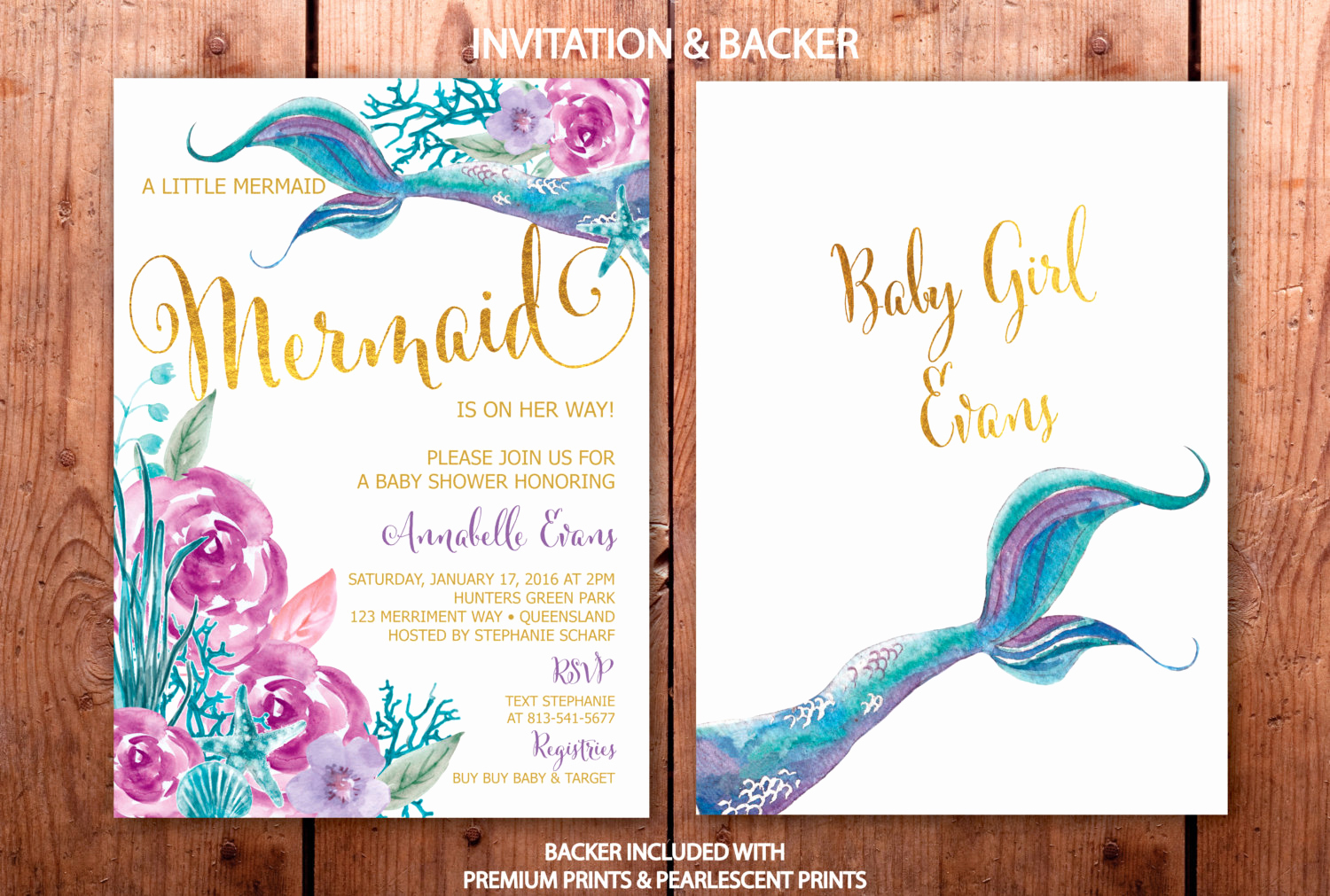Mermaid Baby Shower Invitations Unique Mermaid Baby Shower Invitation Under the Sea Invitation