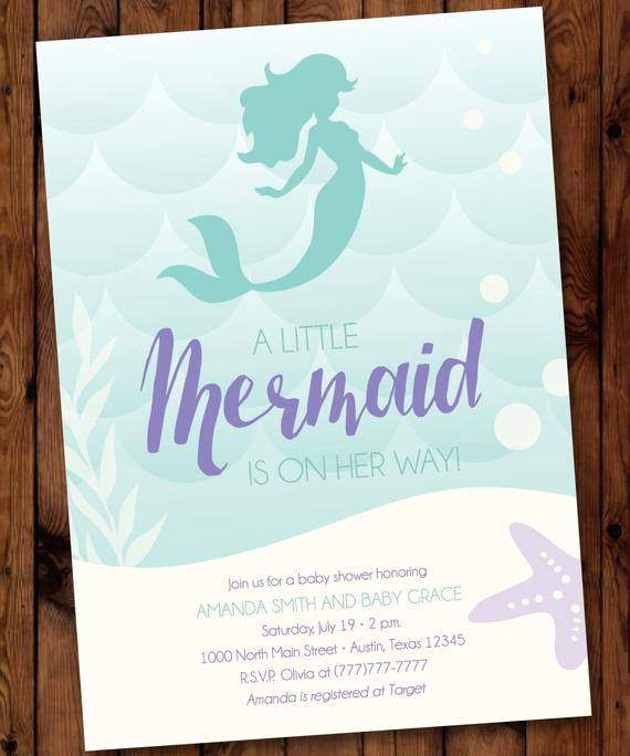 Mermaid Baby Shower Invitations Unique Under the Sea Baby Shower Mermaid Baby Shower Invitation