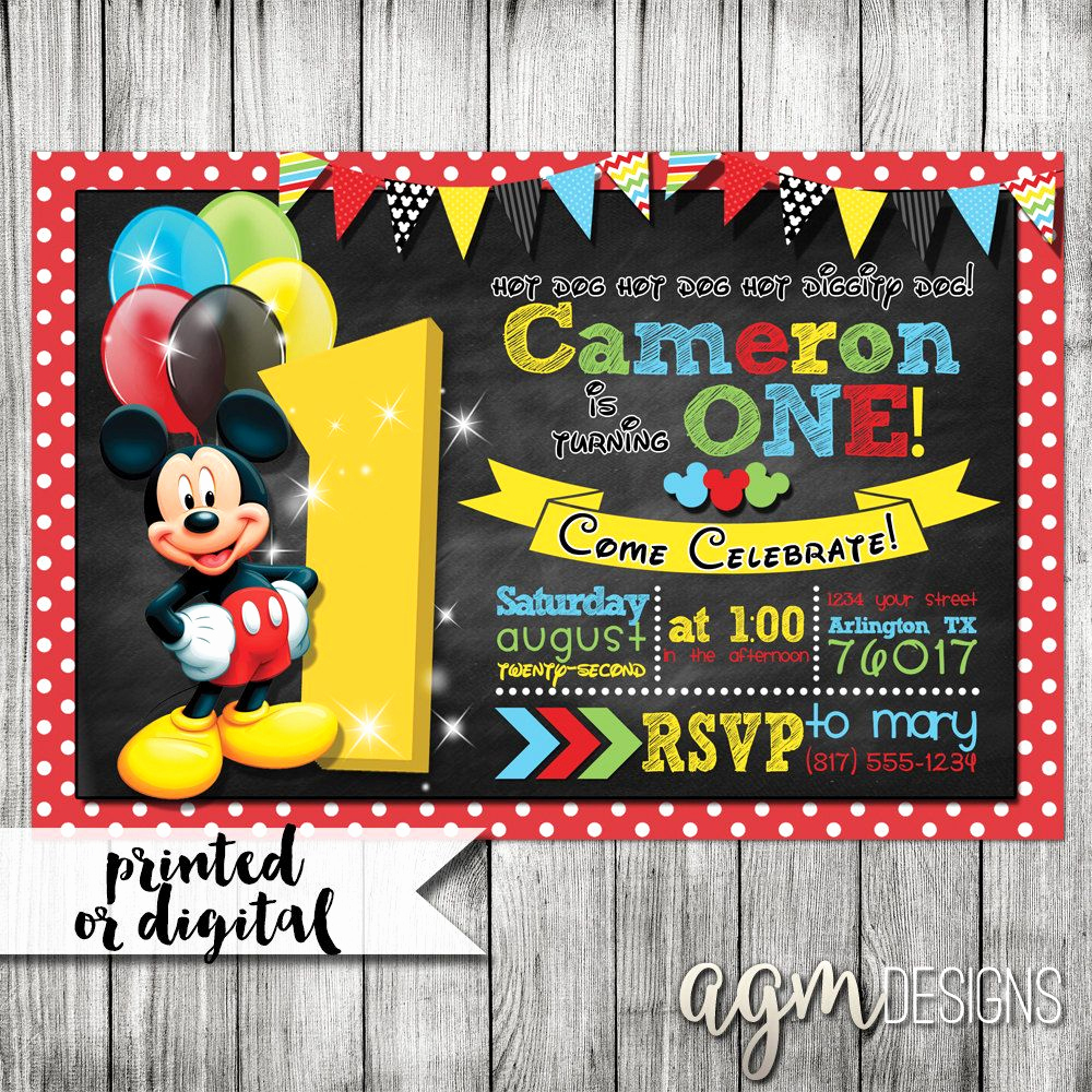 Mickey Mouse Clubhouse Invitations Elegant Mickey Mouse Invitation Mickey Mouse 1st Birthday Mickey