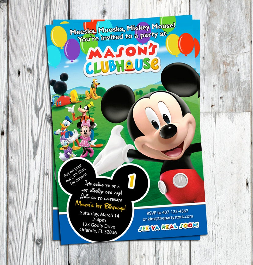 Mickey Mouse Clubhouse Invitations Inspirational Mickey Mouse Clubhouse Invitations Printable Personalized