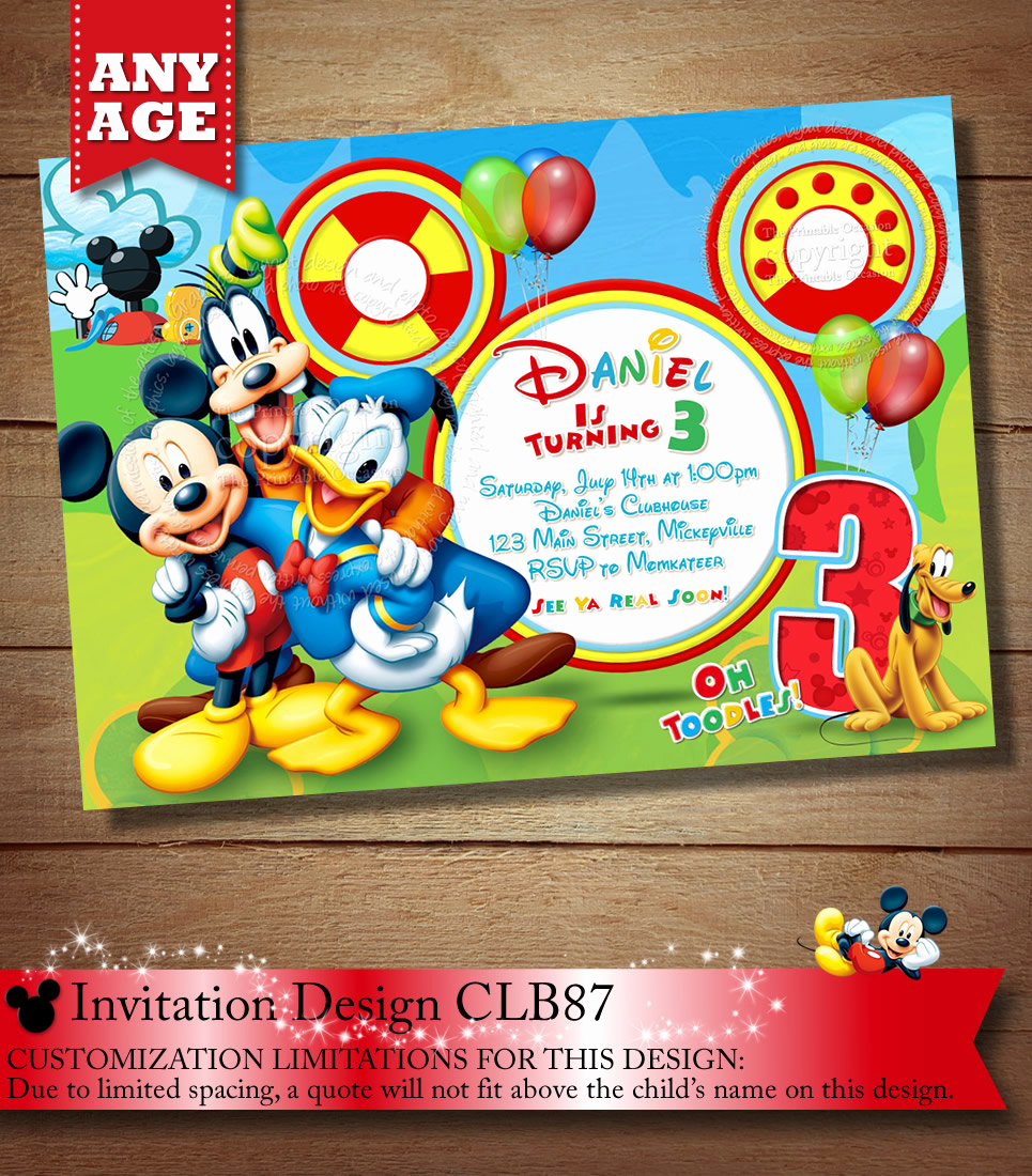 Mickey Mouse Clubhouse Invitations Lovely Mickey Mouse Clubhouse Invitation Mickey Invitation Mickey