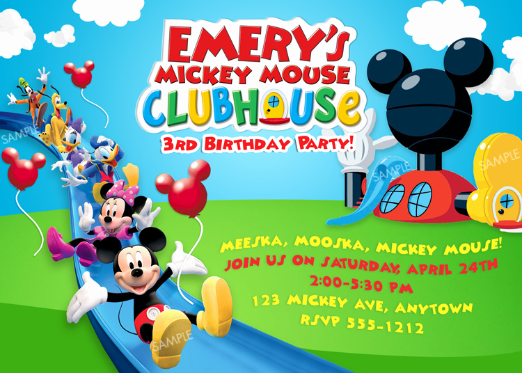 Mickey Mouse Clubhouse Invitations Unique Free Mickey Mouse Clubhouse Birthday Invitations