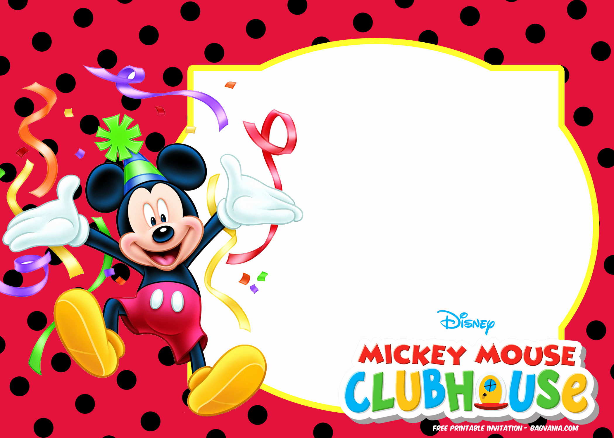 Mickey Mouse Invitation Template Best Of Free Mickey Mouse Invitation Templates – Polka Dots – Free
