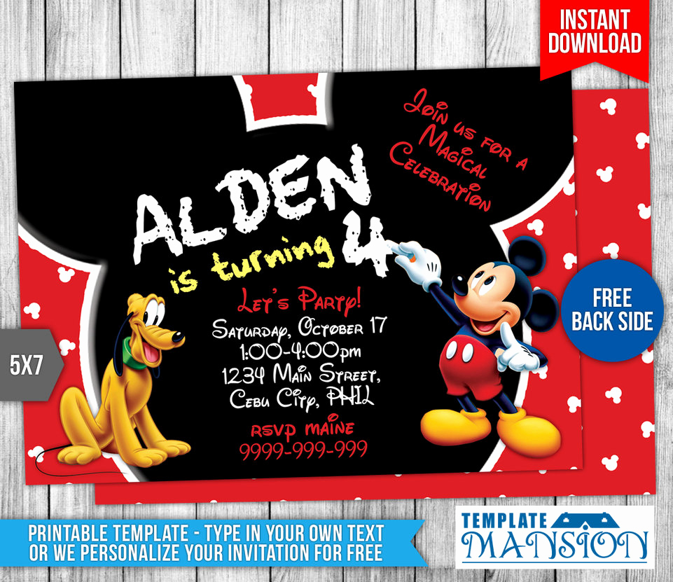 Mickey Mouse Invitation Template Best Of Mickey Mouse Birthday Invitation Template 7 by
