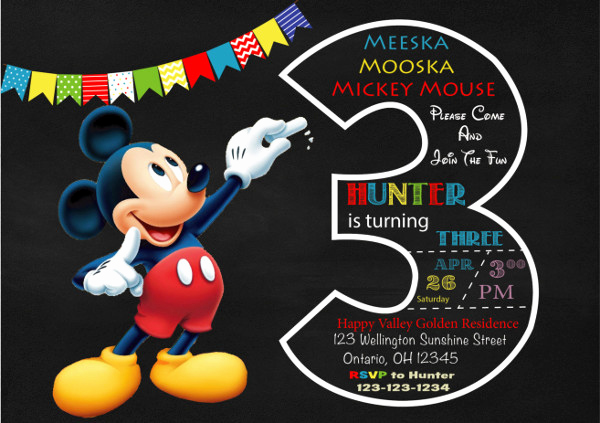 Mickey Mouse Invitation Template Fresh 9 Mickey Mouse Invitations Free Psd Jpg Vector format