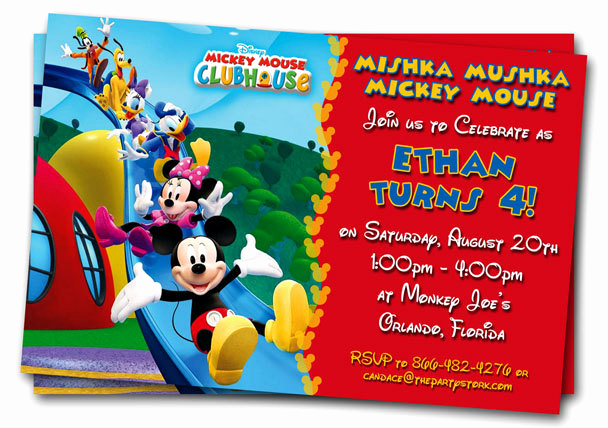 Mickey Mouse Invitation Template Fresh Free Mickey Mouse Clubhouse 1st Birthday Invitations