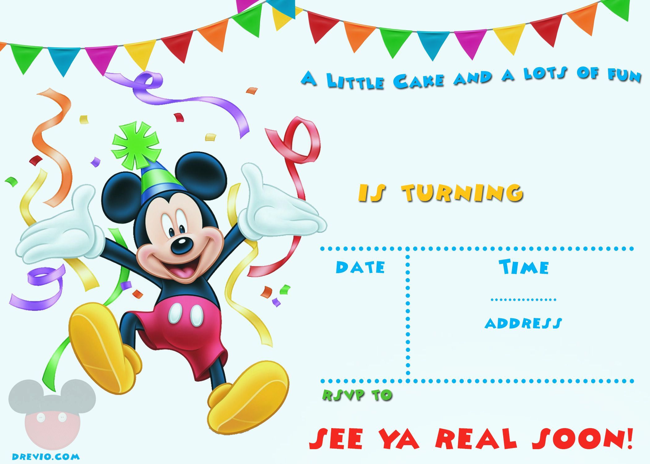 Mickey Mouse Invitation Template Fresh Free Printable Mickey Mouse Party Invitation