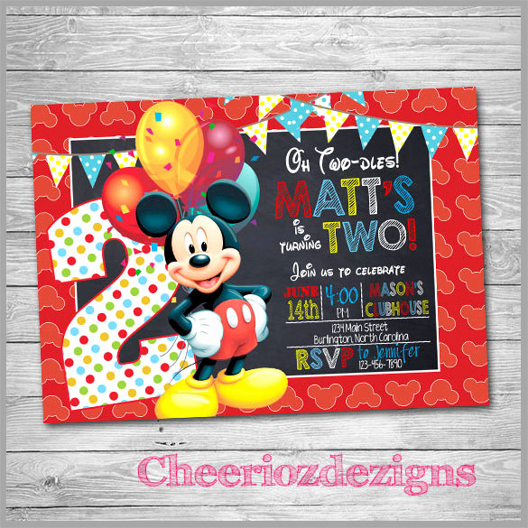 Mickey Mouse Invitation Template Lovely Sample Mickey Mouse Invitation Template 13 Download