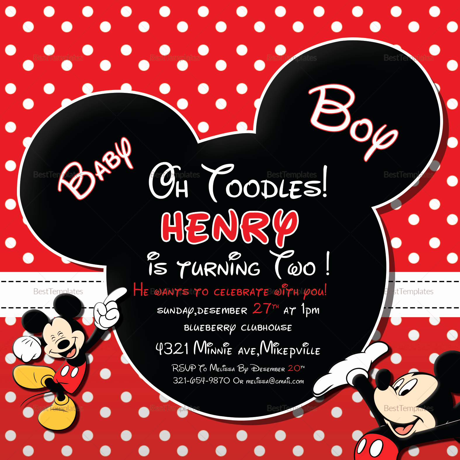 Mickey Mouse Invitation Template Luxury Cute Mickey Mouse Birthday Invitation Design Template In