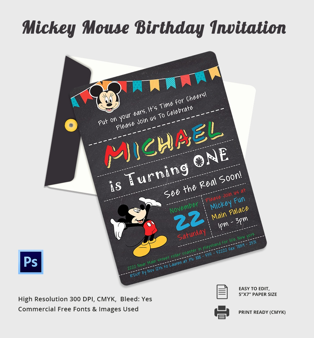 Mickey Mouse Invitation Template Luxury Mickey Mouse Invitation Template – 23 Free Psd Vector