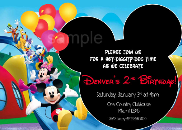 Mickey Mouse Invitation Template New 15 Mickey Mouse Birthday Invitation Templates – Psd