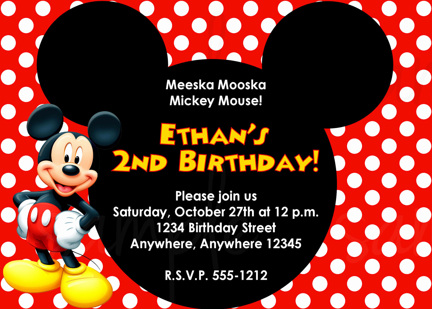 Mickey Mouse Invitation Template New Mickey Mouse Birthday Invitation