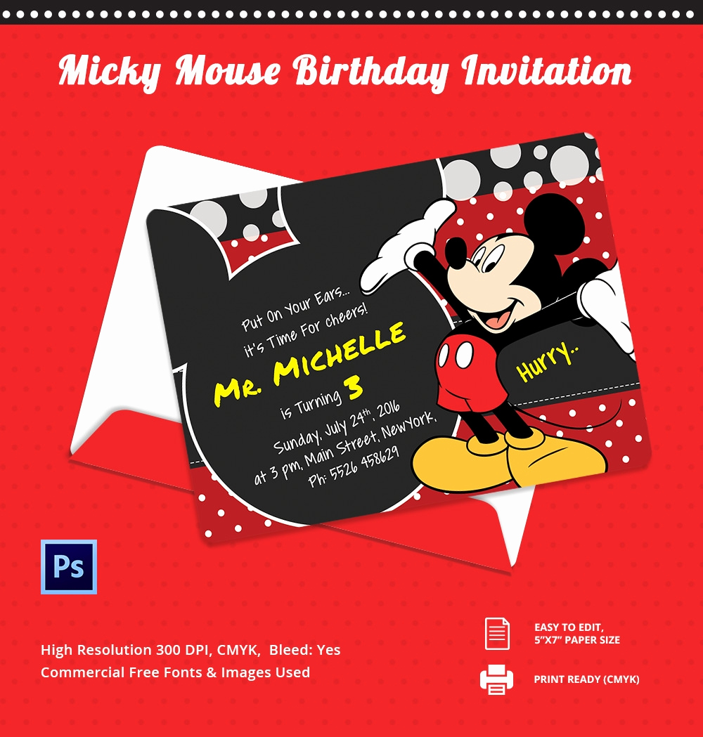 Mickey Mouse Invitation Template New Mickey Mouse Invitation Template – 23 Free Psd Vector
