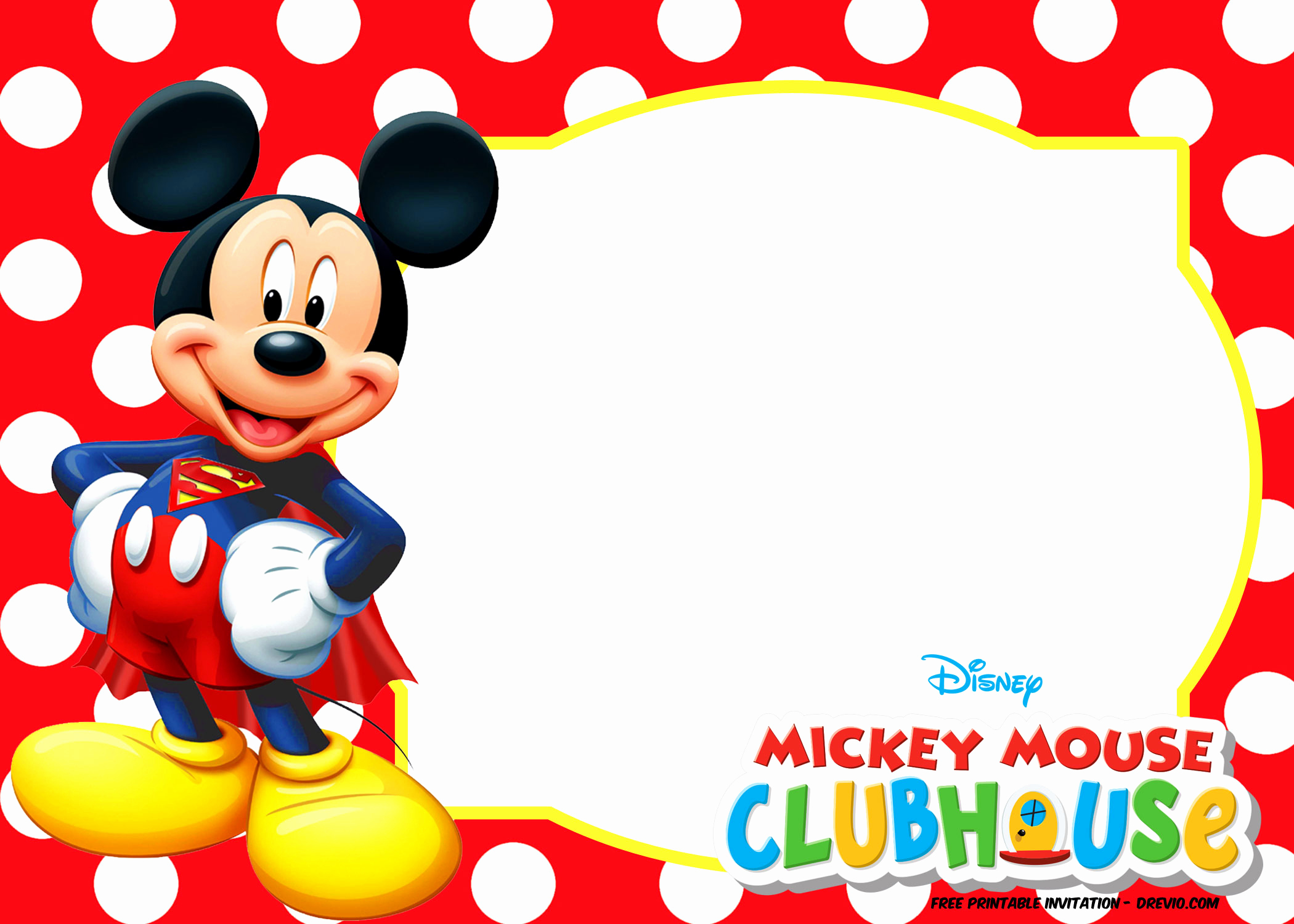 Mickey Mouse Invitation Template New Mickey Mouse Polka Dot Invitation Templates
