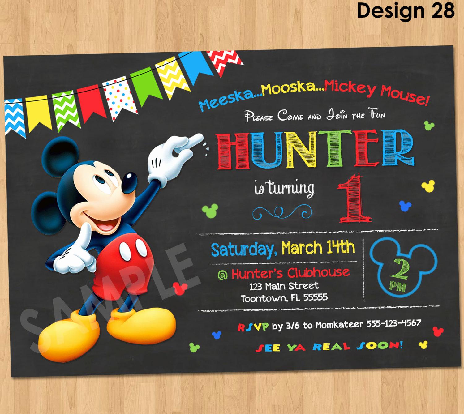 Mickey Mouse Invitation Template Unique Mickey Mouse Birthday Invitation Mickey Mouse Clubhouse