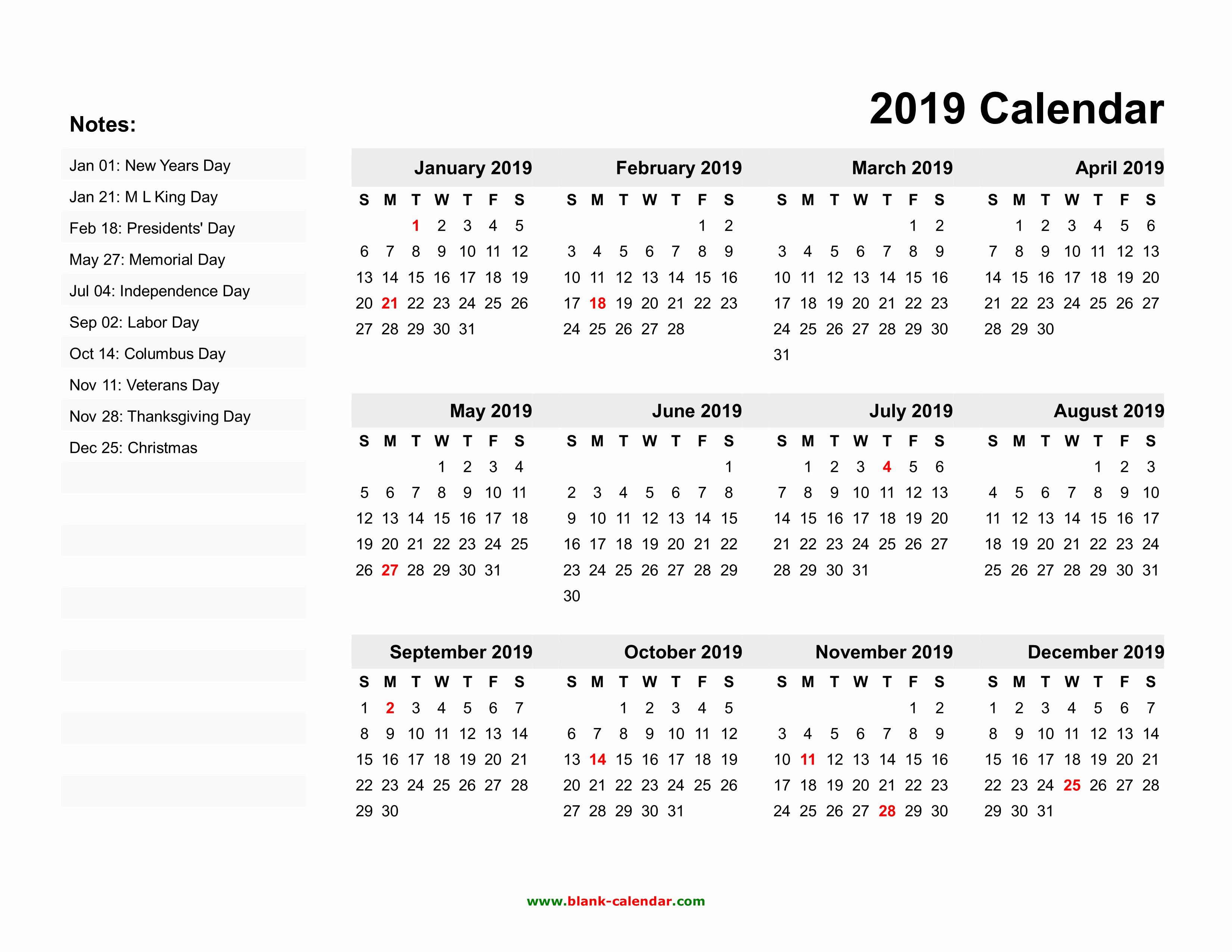 Microsoft Calendar Templates 2019 Awesome Yearly Calendar 2019
